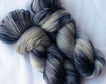 Hand dyed yarn, Lunar, 100% super wash merino wool yarn, dk weight yarn, blue yarn, white yarn, varigated yarn, knitting, crochet