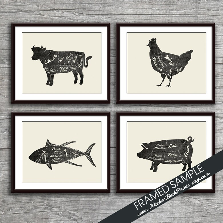 Beef Chicken Fish and Pork Butcher Diagram Series Set of