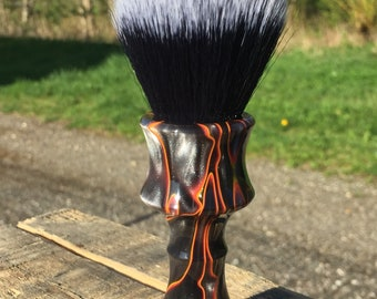 Custom Handcrafted Lava Resin Shaving Brush. Shown with a 24mm Black Hammer synthetic Badger knot.