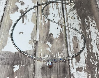 Swarovski Crystal Drop Summer Beach Holiday Necklace  Sterling Silver extender Clasp