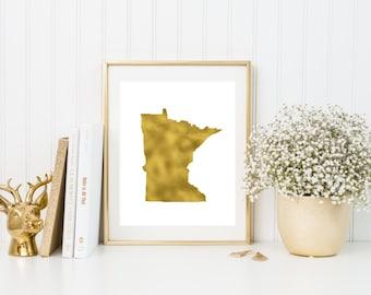 Minnesota gold foil print/ MN state print/ state art/home state print/ home print/ state print/MN art/MN print/ custom state art