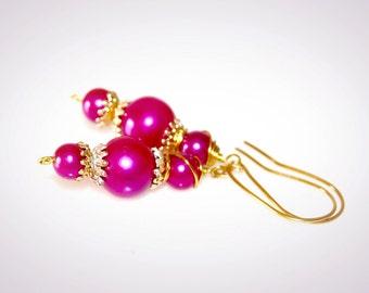 Repurposed Vintage Hot Pink Earrings. Upcycled Jewelry. OOAK Repurposed Vintage Beaded Earrings