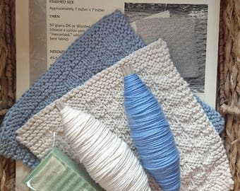 Knitting Kit: Cotton Yarns, Washcloth Pattern, Handcrafted Soap...Makes Two