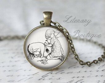 Winnie the Pooh, Eeyore, Classic Pooh Illustration, Eeyore's Tail, A. A. Milne Necklace or Keyring, Keychain.