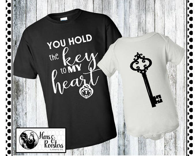 Mommy and Me T-Shirt Onesie Set / Mom and Baby Set / You Hold The Key To My Heart Shirt with Key Bodysuit, Creeper, Gift Idea (G2000) #1357