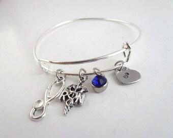 RN Bracelet , Personalized Stethoscope RN Charm Bangle Gift for Registered Nurse , Nursing Student , Nurse Graduation , RN Christmas gift