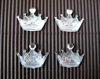 "SILVER Crown DIY Acrylic Rhinestone, Flat Back, Scrapbooking, Crafting, Party Favors, Embellishment, 1.5"" w x 1"" H /20 mm x 15 mm, 25 pcs"
