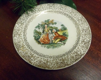 "Cronin China Co. Colonial Couple Bread & Butter Plate, 6 1/4"" Diameter,  National Brotherhood Operative Potters  (T)"