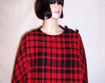 1960's Red and Black Plaid Cape and Skirt Ensemble