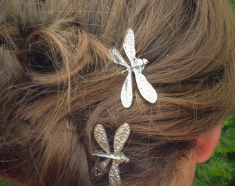 Dragonfly Bobby Pins, Set of Two, Antique Silver, Nickel Free Dragonflies, Dragonflies, Insect Pin, Dragonfly Hair Clips, Silver Dragonflies