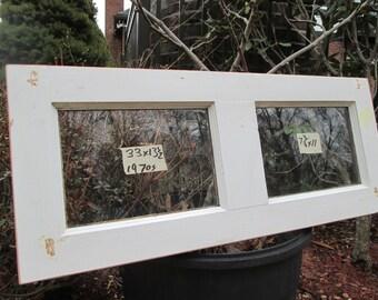 33 x 13-1/2 Vintage Window sash old DOOR TOP 2 pane  from 1970s