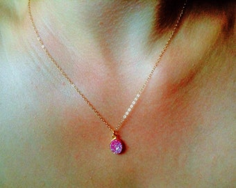 Tiny pink druzy necklace, small oval druzy necklace, druzy necklace, everyday modern simple minimalist dainty necklace, gold necklace