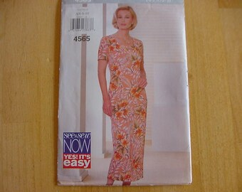 Vintage, Uncut, 1990s Butterick See & Sew Pattern 4565, Misses Semi-Fitted, Straight Dress, Multi Size Misses Size 6-10