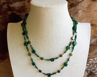 Malachite and Pyrite Necklace.