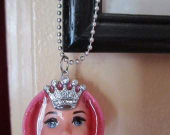 Princess Barbie doll with crown. Altered art. Upcycled barbie. Necklace.