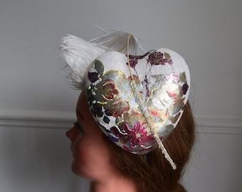 Heart  shaped Sinamay Vintage hat Wedding | Royal Ascot | Epsom Derby