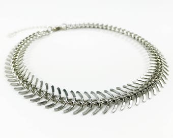 Haddie II - Silver, Fishbone, Chain, Choker, Necklace