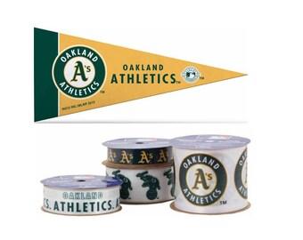 Oakland Athletics MLB Ribbon, 4-pack of Ribbon & Mini Pennant, Licensed MLB Offray Ribbon