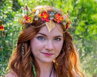 Real Gold Dipped Leaf Faerie Crown