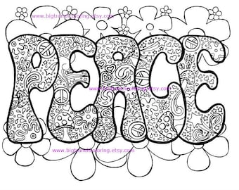 Adult Coloring Page - Hippie - Retro - Peace - Colouring - Printable - Instant Download
