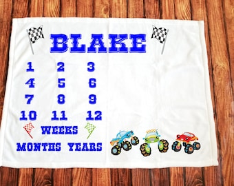 Monster Truck boy/monthly/milestone/minky blanket/sherpa/custom print/personalized/kid/baby/baby shower gift/unique baby gift/new baby gift