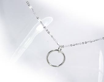 Simple Circle Line Necklace in Solid Sterling 925 Silver (SN052)