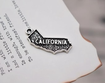 20 antique silver california charms map charm state pendant pendants  (X02)