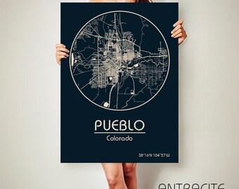 PUEBLO Colorado CANVAS Map Pueblo Colorado Poster City Map Pueblo Colorado Art Print, Colorado Pueblo Colorado