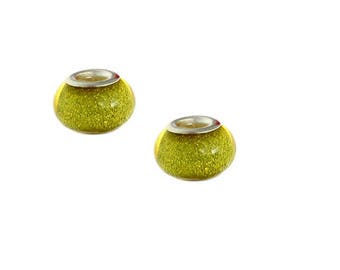 set of 4 beads glitter charm yellow resin 14 mm