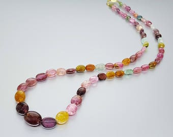 Multi color Tourmaline necklace with gold plated clasp - watermelon - gift idea Christmas - genuine natural gemstone jewelry - multi color