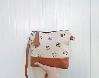 Canvas crossbody bag dots, medium crossbody purse camel vegan leather, jute cotton bag, hobo bag canvas, white shoulder bag, geometric print
