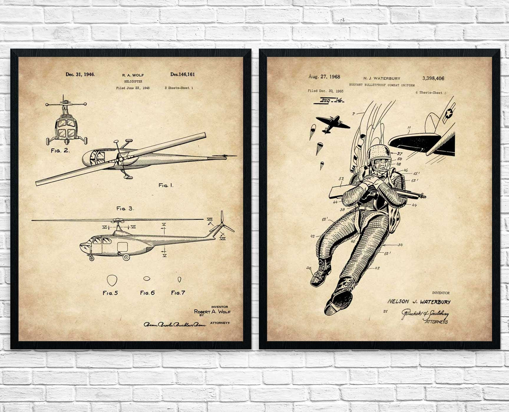Military gift set of 2 blueprint art us army airborne request a custom order and have something made just for you malvernweather