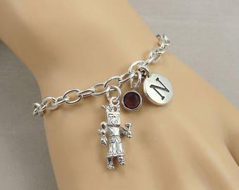 Kachina Doll Charm Bracelet, Hopi Katsina Bracelet, Initial and Birthstone Bracelet, Silver Plated Link Charm Bracelet