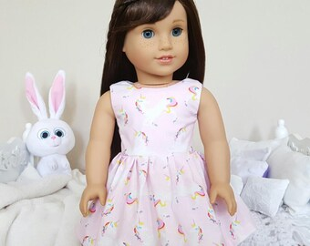 18 inch doll unicorn dress | pink party dress