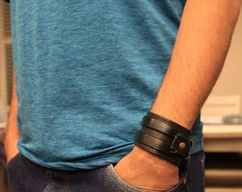 Genuine Leather Bracelet for men - Leather Cuff Wristband -  Snap Closure Stitched Double Band - Gift for him - Graduation gift idea