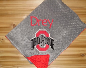 Buckeyes - Personalized Minky Baby Blanket - Gray / Red Minky - Embroidered Logo