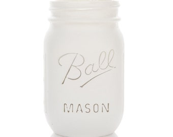White - Vintage Rustic Shabby Chic Mason Jars -  Hand Chalk Painted to your requirements