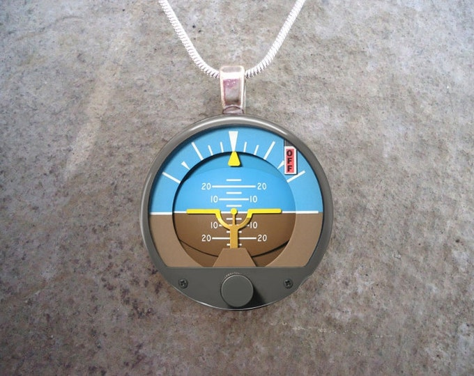 Pilot Jewelry - Attitude Indicator - Glass Pendant Necklace - Aircraft Instruments - Gifts for Pilots - Made in Canada