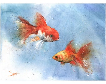 GOLDFISH WATERCOLOR PAINTING - watercolor goldfish art, goldfish painting, fish wall art, fish decor, original watercolor, fish artwork