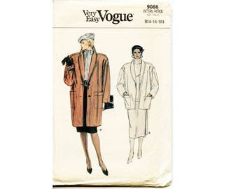 """UNCUT Vintage Vogue #9086 Shawl Collar Wool Coat Jacket Sewing Pattern Very loose-fitting 2 Options 3 Sizes Bust 36"""" 38"""" 40"""""""