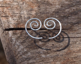 Silver stud earrings, silver spiral studs, unisex silver stud earrings handmade in UK