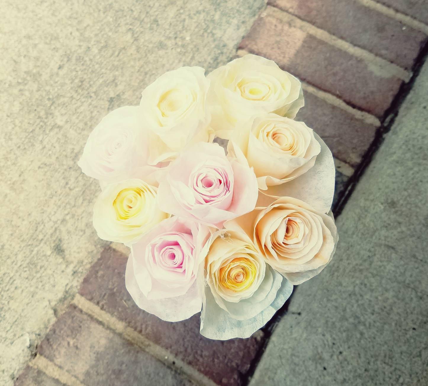 Handmade Coffee Filter Flower Bouquet Hand-Dyed Coffee