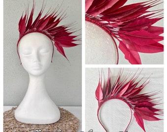 Ladies burgundy feather headband fascinator