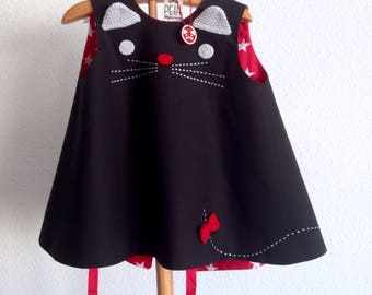 black cat dress 1 up 18 months, cat  baby cotton dress, black  baby kitty dress, new baby gifts, baby clothes, made in spain, girl dresses