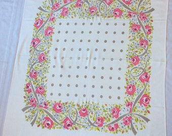 Pink and green flowers with ribbon & polka dots vintage tablecloth