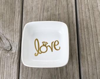 Love Dish, Ring Dish, Ring holder, Jewelry dish, Bridal gift, Engagement gift, Custom ring dish, Wedding Gift