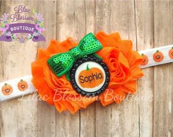 Personalized Pumpkin Baby Headband, Baby Girl Halloween Headband, Newborn Headband, Cute Halloween Bow, Baby Girl Bow Halloween, Pumpkin Bow
