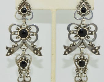 1940's Sterling Silver & Onyx Long Dangle Earrings
