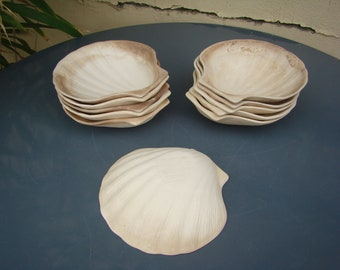 Flat individual shell SCALLOPS set of 11 vintage ceramic! Sea shells - retro ceramic seashells - Made in France