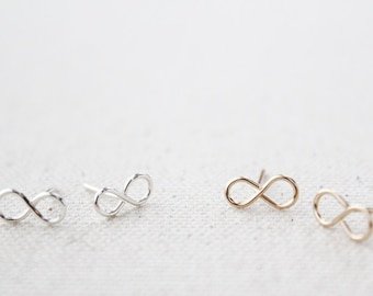 Tiny Infinity Earring Studs - Hand Formed - Sterling Silver - Figure Eights